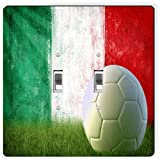 Rikki Knight 1991 Double Toggle Italy Soccer Grunge Wall Design Light Switch Plate
