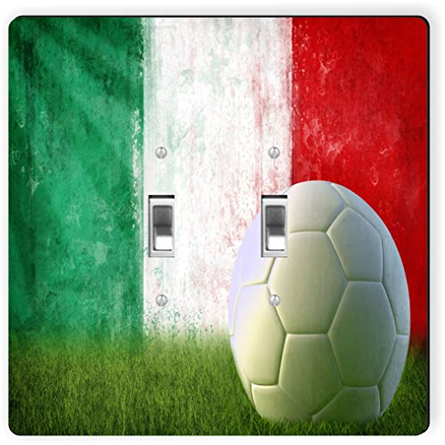 Rikki Knight 1991 Double Toggle Italy Soccer Grunge Wall Design Light Switch Plate by Rikki Knight