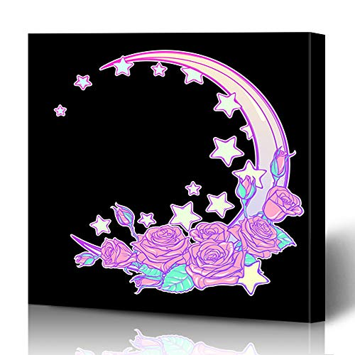 Ahawoso Canvas Prints Wall Art 12x16 Inches Moon 90S Kawaii Roses Stars Spot Crescent Baby Bouquet Delicate Sketch Decor for Living Room Office Bedroom ()