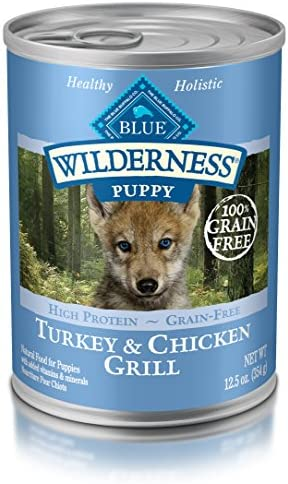Blue Buffalo Wilderness High Protein Grain Free, Natural Puppy Wet Dog Food, Turkey Chicken Grill 12.5-Oz Can Pack Of 12