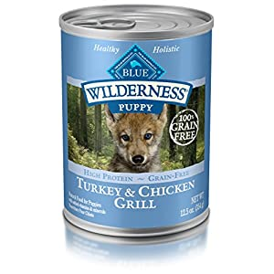 Blue Buffalo Wilderness High Protein Grain Free, Natural Puppy Wet Dog Food, Turkey & Chicken Grill 12.5-Oz Can (Pack Of 12)