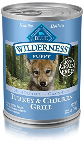 Blue Buffalo Wilderness High Protein Grain Free, Natural Puppy Wet Dog Food, Turkey & Chicken Grill 12.5-Oz Can (Pack Of 12) (Best Wet Dog Food For Puppies)