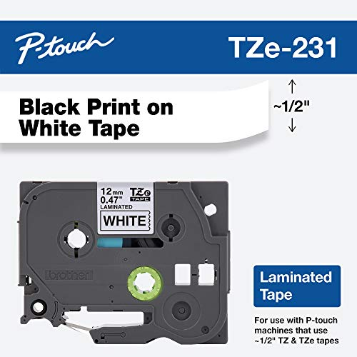 Brother Genuine P-touch TZE-231 Tape, 1/2
