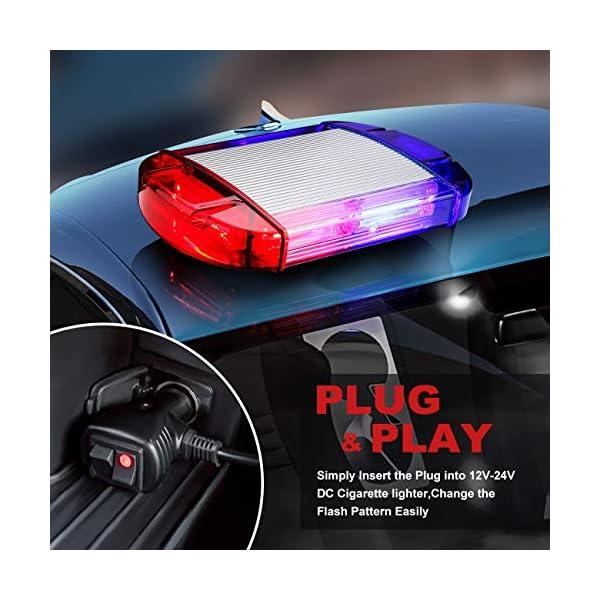 126 Luz Azul & rojo LED estroboscópica intermitentes para emergencia peligro advertencia vehículos de construcción luz minibar luz de advertencia luminosa con base magnética 7