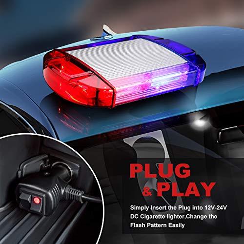126 Luz Azul & rojo LED estroboscópica intermitentes para emergencia peligro advertencia vehículos de construcción luz minibar luz de advertencia luminosa con base magnética 13