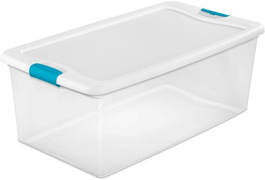 Sterilite 64 Qt 64 Quart, 6 Pack Latching Box White