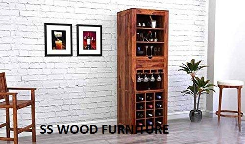 SS WOOD Furniture Sheesham Wood Wine Storage Stylish Nanson Bar Cabinet for Living Room | Teak Finish