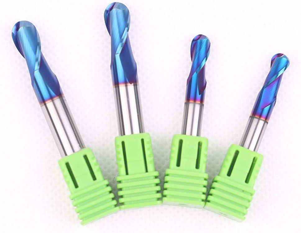 HRC65 Solid Carbide NACO/Blue Coating Ball Nose End Mill 2 Flutes Tungsten Steel CNC Milling Cutter R4.0x35Cx8Dx100L R4.0x16cx8dx60l