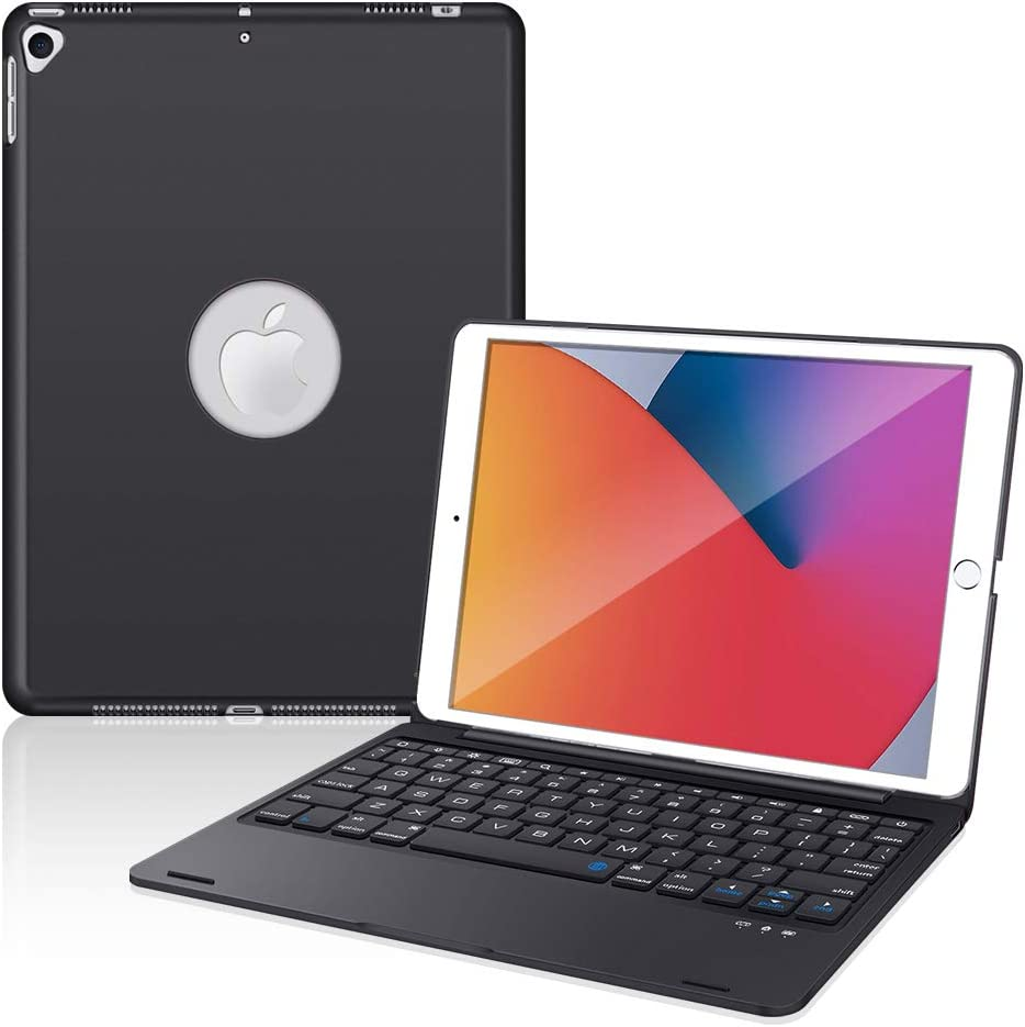 iPad Keyboard Case for New iPad 10.2 8th 2020 & 7th 2019, iPad Air 3 10.5 2019, iPad Pro 10.5 2017, Bluetooth iPad Keyboard with 135° Smart Hard Cover - Black