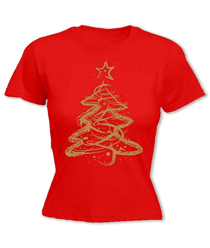f30fa7e24a0 Hoodiii Womens Printed Christmas T Shirt - Distressed Christmas Tree Gold   Amazon.co.uk  Clothing