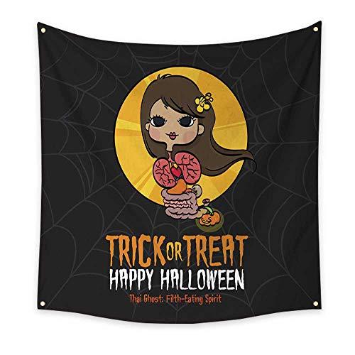 BlountDecor Horizontal Tapestry Halloween Trick or Treat Thai Ghost 55W x 55L Inch