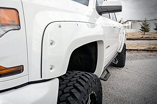Rough Country FC11612GAZ - Painted Pocket Fender Flares w/Rivets - Summit White (5.5-foot Bed Models) for Chevrolet: 16-18 Silverado 1500 (Painted Pocket)