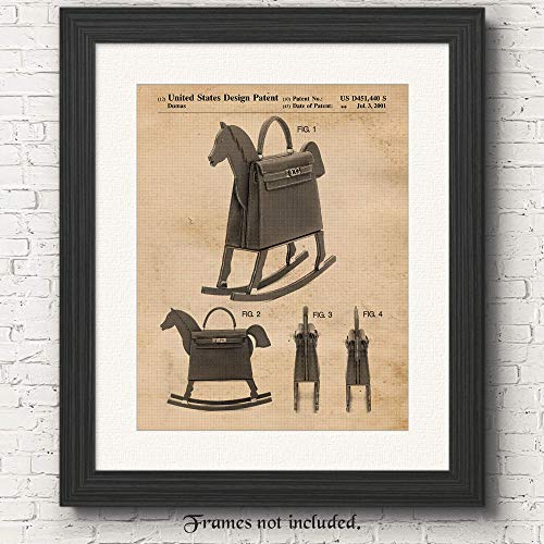 Original Hermes Leather Rocking Horse-Handbag Patent Poster Prints- Set of 1 (One 11x14) Unframed Picture- Great Wall Art Decor Gifts Under $15 for Home, Office, Studio, Student, Teacher, Designer