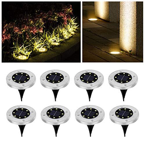 Wilktop 8 Stuks Zonne-Verlichting voor Tuin Zonne-Lamp Vloerlamp Warm Wit met 8LEDs Licht Vloer Spot LED Buiten IP65 set…