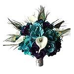10-Large-Bridal-Bouquet-lighter-Tealeggplant-Purple-Open-Rosescalla-Lilypeacock-Feather-Bouquet