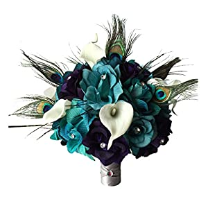 "Angel Isabella 10"" Large Bridal Bouquet-Lighter Teal,Eggplant Purple Open Roses,Calla Lily,Peacock Feather Bouquet 118"