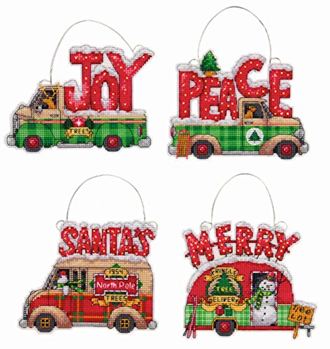 Dimensions Holiday Truck Ornaments Counted Cross Stitch Kit #70-08974