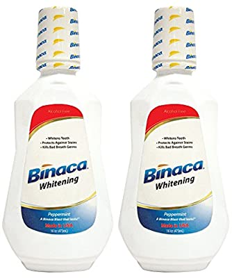 Binaca Whitening Mouthwash, Peppermint, 16 Oz (Pack of 2)
