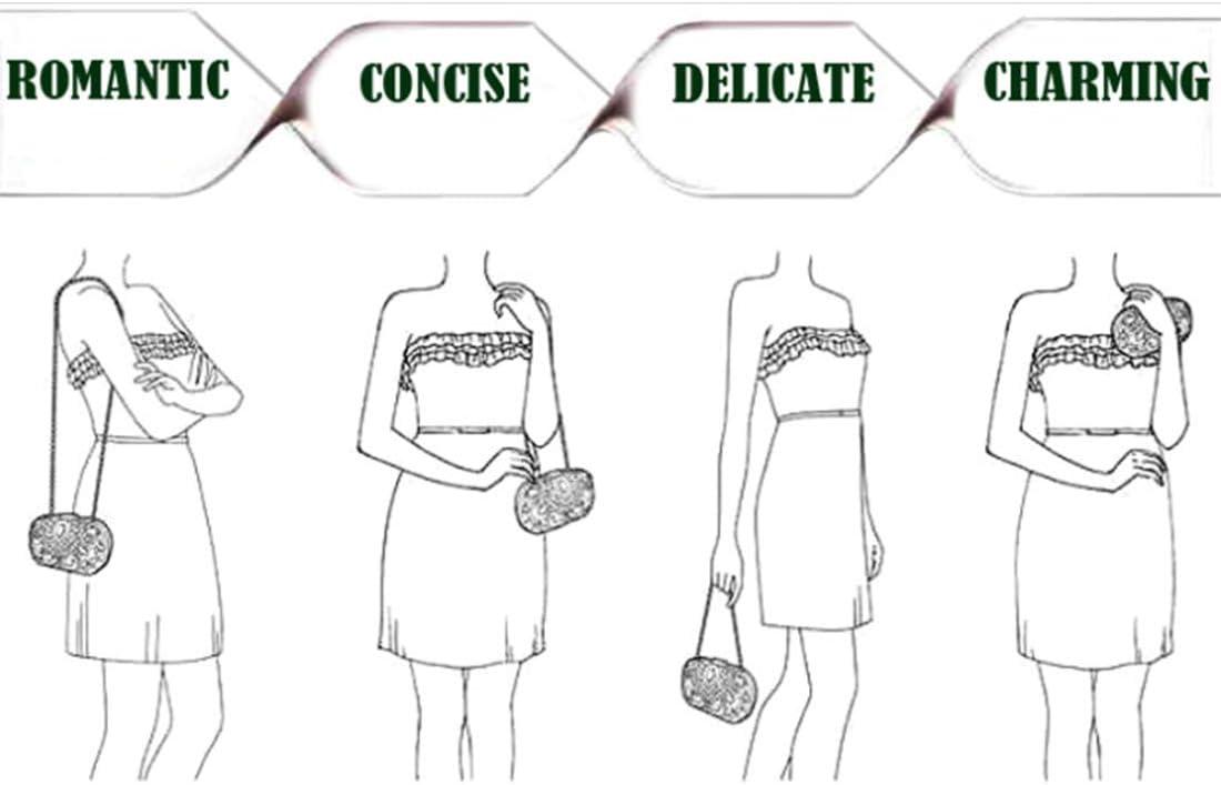 Color : Black RABILTY Womens Elegant Clutch Evening Prom Handbag Purse