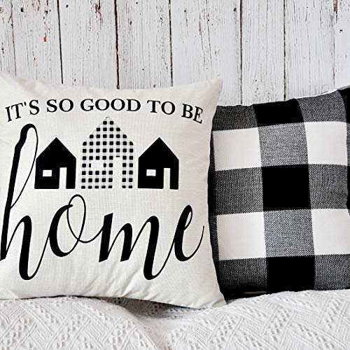 PANDICORN Set of 2 Farmhouse Decorative Throw Pillows Covers, Black and White Buffalo Check Throw Pillow Cases with Quote It is So Good to Be Home, 18 x 18 Inch (Black Check Buffalo Pillow)