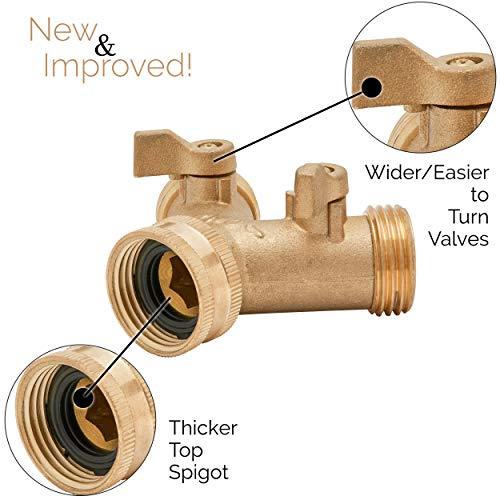 Morvat New and Improved Design Heavy Duty Brass Garden Hose Connector Tap Splitter (2 Way) | Dual Spigot Adapter -2 Pack