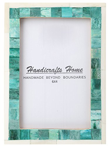 Handicrafts Home 4x6 Picture Photo Frame Mosaic Art Inspired Vintage Wall Décor Gift Frames [4x6 GREEN]