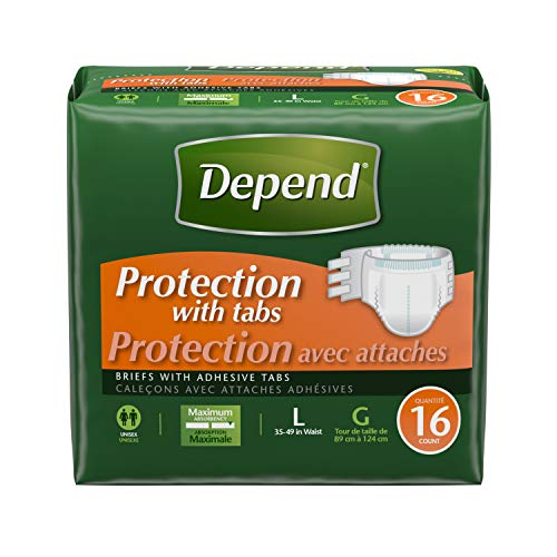Depend Incontinence Protection with Tabs, Maximum Absorbency, Large, 16 Count (Pack of 3) (Protection Maximum Brief)