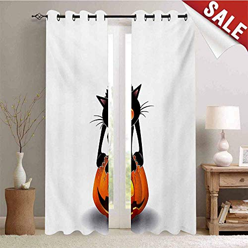 (Hengshu Halloween Thermal Insulating Blackout Curtain Black Cat on Pumpkin Drawing Spooky Cartoon Characters Halloween Humor Art Blackout Draperies for Bedroom W108 x L96 Inch Orange)