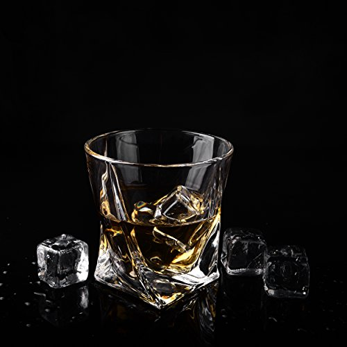 Twist Whiskey Glasses - Set of 4 - by Vaci + 4 Drink Coasters, Ultra Clarity Crystal Scotch Glass, Malt or Bourbon, Glassware Gift Set by Vaci Glass (Image #6)
