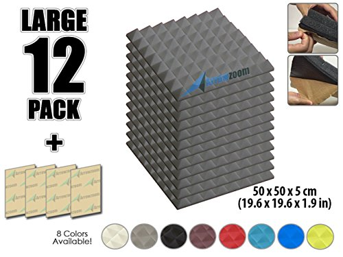 Arrowzoom New 12 Pack of 19.6'' X 19.6'' X 1.9'' Inches Soundproofing Insulation Pyramid Self Adhesive Acoustic Foam Wall Padding Studio Foam Tiles AZ1053 (GRAY) by Arrowzoom Pyramid Acoustic Foam
