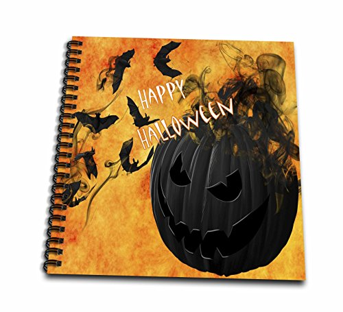 3dRose Halloween - Image of Happy Halloween With Smokey Pumpkin And Bats - Drawing Book 8 x 8 inch (db_262503_1)