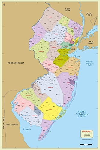 New Jersey County with Zip Code Map (36