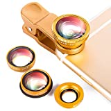 Luxsure Universal 4 in 1 Camera Lens Kit Fish Eye Lens + 2 in 1 Macro Lens + Wide Angle Lens + CPL Lens for iPhone 6/6 Plus/6s/6s plus/5/5S/4/4S,iPad Air/Mini,Samsung Galaxy/Note,Sony Xperia(Gold)