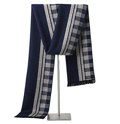 MuNiSa Men's Winter Scarf Plaid Stripes Long Cashmere Scarves with Tassel(Navy Grey) by MuNiSa