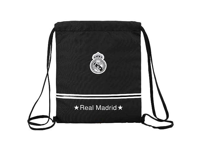 Real Madrid - Saco-mochila, 35 x 40 cm, color negro (Safta