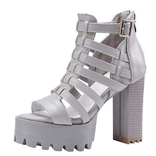 Carolbar Women's Western Block High Heel Peep Toe Platform Zip Sandals Grey