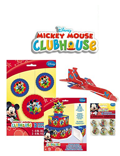 [Mickey Mouse Party Favor and Decoration Kit - 6 Bounce Balls - 12 Temporary Tattoos - 4 Glider Planes - 8 Favor Boxes - Door Poster - 3 Paper Fans - 3 Hanging Decorations by Unknown] (Party City Baby Mickey Mouse Costume)