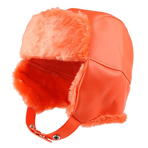 High Visibility Fur Trimmed Vinyl Trooper Aviator Winter Hat - Orange - L