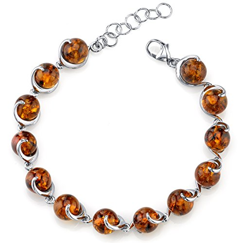 Baltic Amber Spiral Bracelet Sterling Silver Cognac Color Round Sphere (Sterling Silver Amber Gemstone Bracelet)