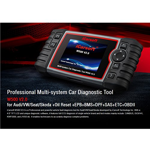 iCarsoft Auto Diagnostic Scanner W500 V2.0 for Audi/VW/Seat/Skoda with ABS Scan,Oil Service Reset ect by iCarsoft (Image #1)