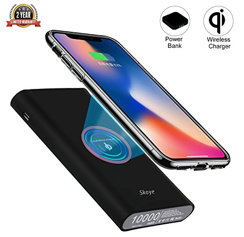 Wireless Charger Power Bank, Skoye 10000 mAh Mobile Battery Lightweight Large Capacity Built-in Quick Charge Wireless Chargeable Portable Type-C/Micro-USB Import Port Equipped Wireless and Wired cha