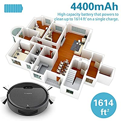 Pureatic V2 Pro Robot Vaccum Cleaner, 1500Pa Powerful Suction Tangle-Free with 4 Cleaning Schedule Modes Auto Charge Anti-Collision & Drop Sensor Protection, Good for Hard Floor and Low Pile Carpet