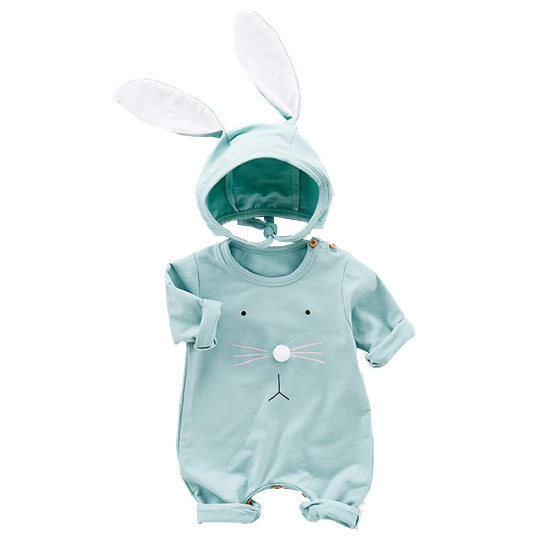 Fairy Baby 2PCS Easter Outfits for Baby Boys Girls Cotton Bunny Outfit Long Sleeve Romper Big Ear Cap