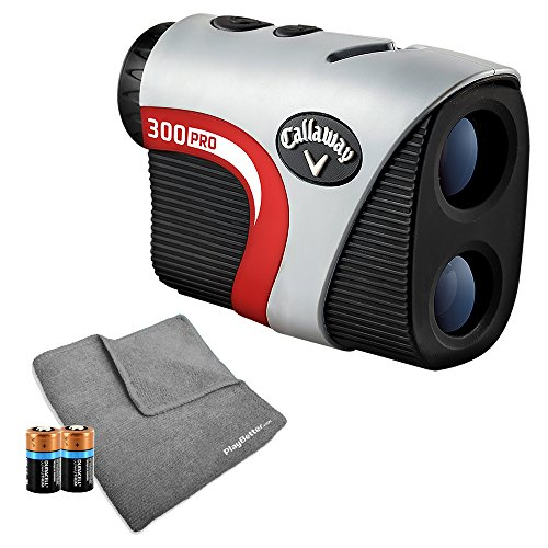 Callaway 300 Pro (with Slope) Golf Rangefinder Bundle | Includes Golf Laser Rangefinder with Slope Function, Callaway Carry Case, PlayBetter Microfiber Towel and Two (2) CR2 Batteries by PlayBetter