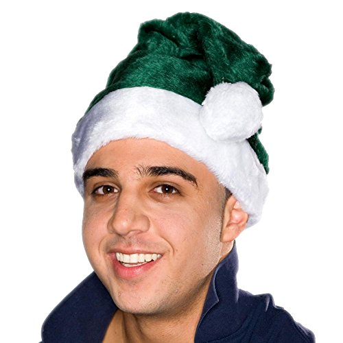 Adult Green Plush Santa Hat -