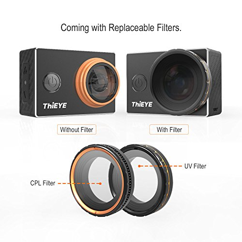 ThiEYE Original V5s 4K Wifi Sports Action Camera with Replaceable Filters Big Lens 360° 12MP Photo Rotation 197FT Waterproof 1080p HD Video Cam Action Cameras ThiEYE