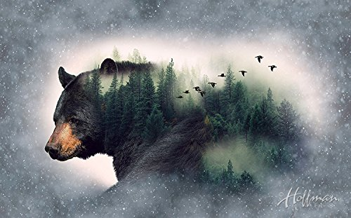 Bear/Forest Fabric Panel - Call of The Wild Digital Print - 27