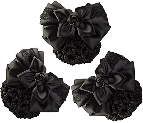 LiveZone (Pack of 3) Women Hair Bun Cover Net Snood Hairnet Bowknot Decor Barrette Hair Clip Bow Lace Flower Hair Accessories,Black