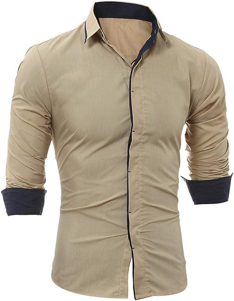 Camisa de Hombre Camisa de Manga Larga Casual Masculina de Rayas ...