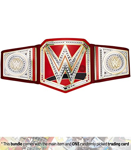 WWE Universal Championship: WWE Championship Belt + 1 Official WWE Trading Card Bundle (FFD49) by Mattel